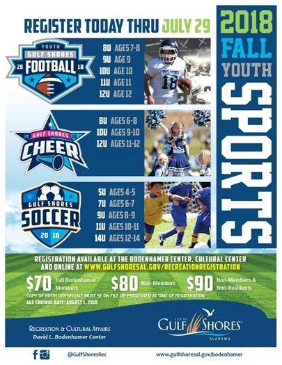 fall sports registration flyer