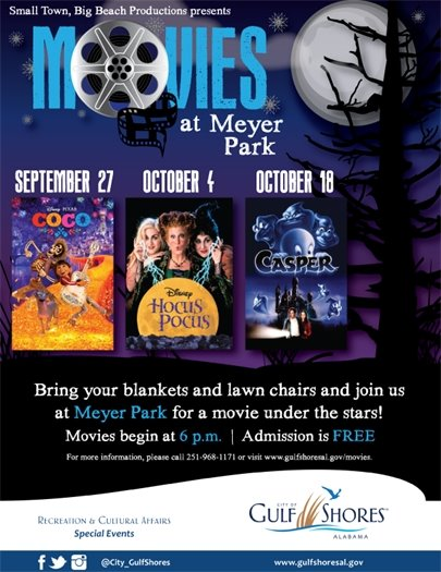 City of Gulf Shores announces Movies at Meyer Park series beginning Sept. 27