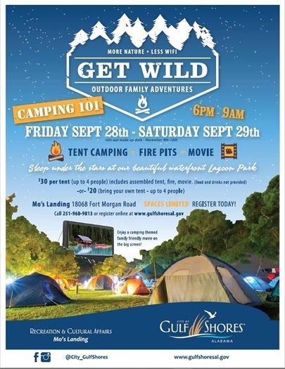 Camping 101 is tomorrow, Sept. 28, at Mo's Landing!