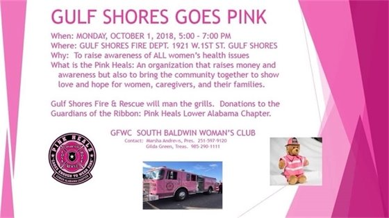 Gulf Shores Goes Pink on Monday, Oct. 1, at the Gulf Shores Fire Station