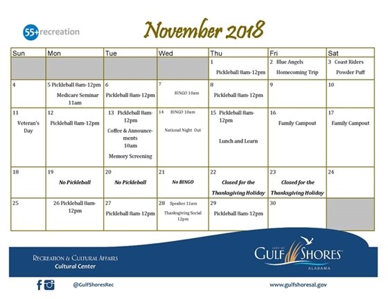 November 2018 Active Adults Activities/Programs Calendar
