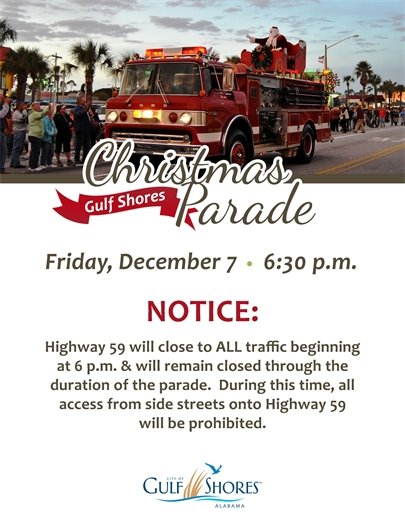 Gulf Shores Lighted Christmas Parade traffic flow modifications