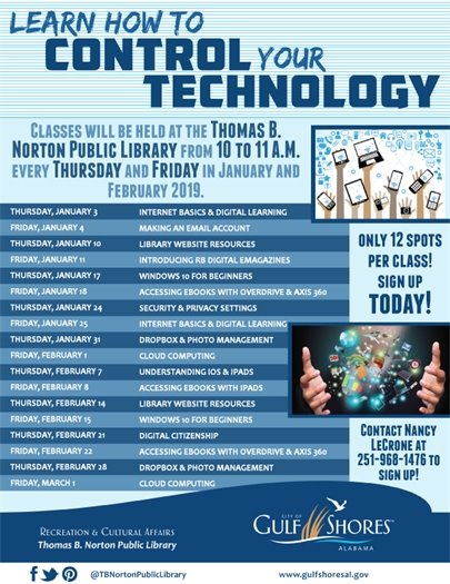"""Learn to Control Your Technology"" at the Gulf Shores Public Library!"