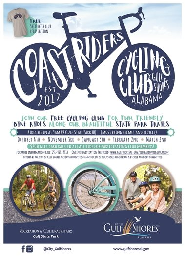 Coast Riders (FREE Cycling Club) meet January 5 at 9 a.m. to ride! Join us!
