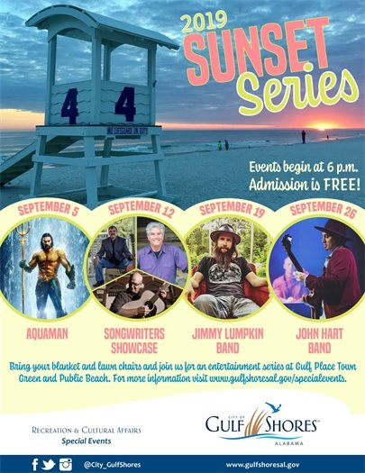 Sunset Series event flyer with photos from four bands