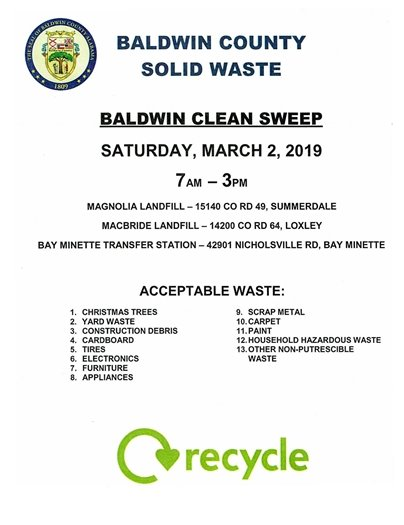 Baldwin County Solid Waste Clean Sweep set for Saturday, March 2!