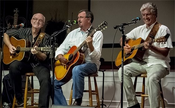 Jerry Salley, Larry Cordle and Carl Jackson playing instruments