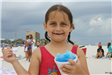 girl smiling with snocone