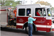 Santa getting out of a firetruck
