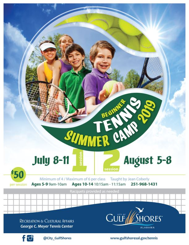 Tennis Summer Camps 2019 infographic