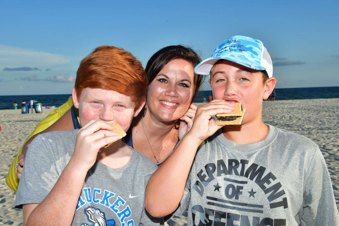 two kids eating a smore