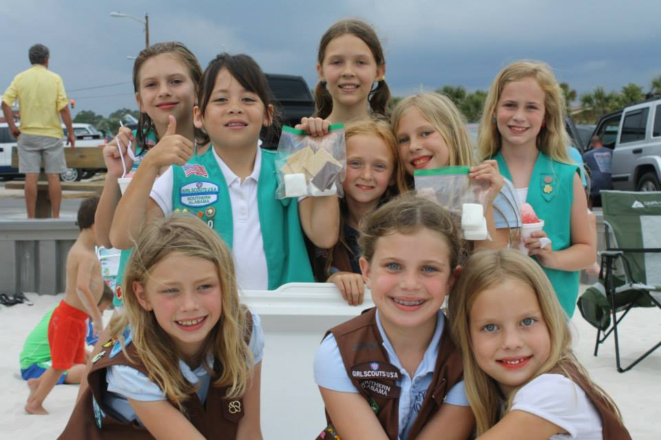 group of girl scouts smiling
