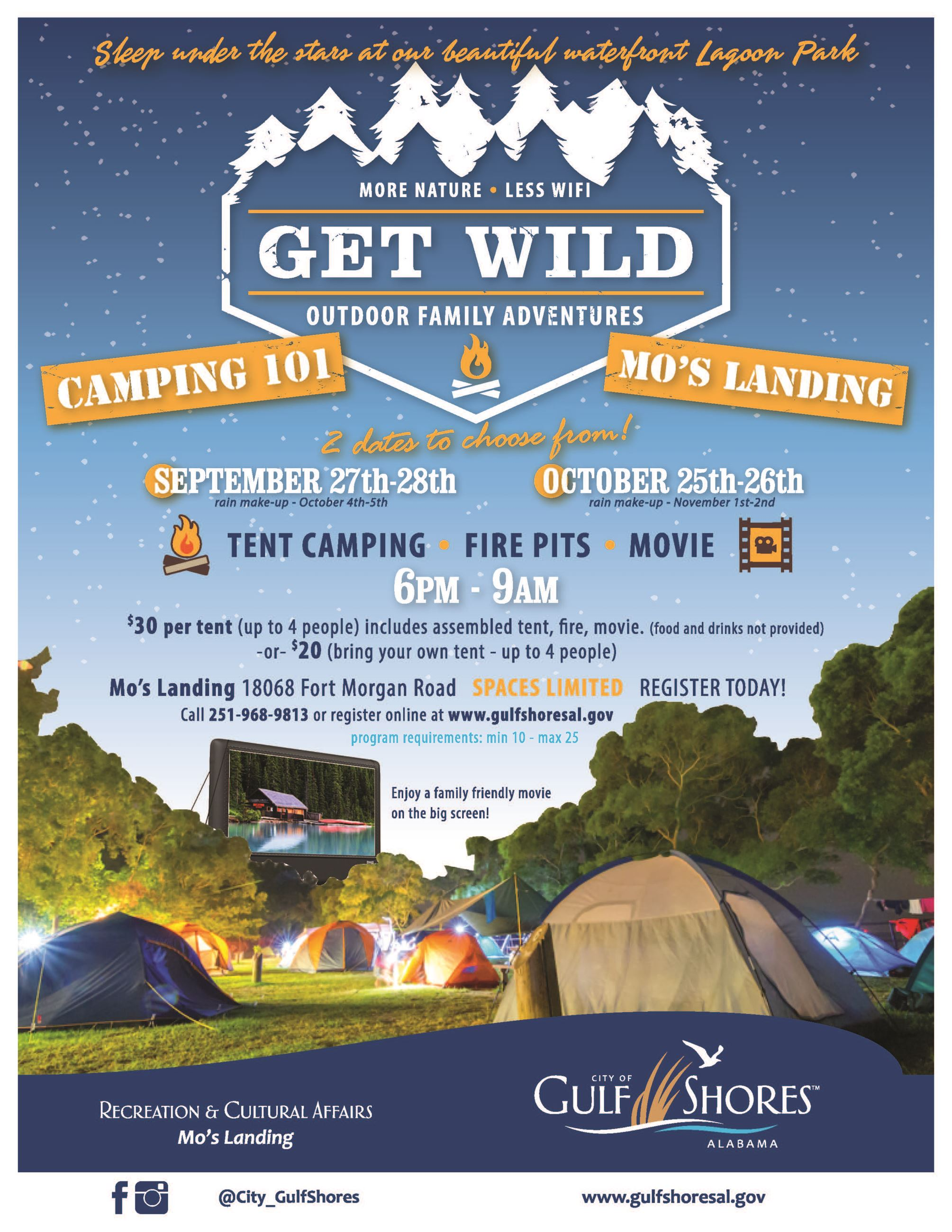 Get Wild Camping 101 event flyer with information