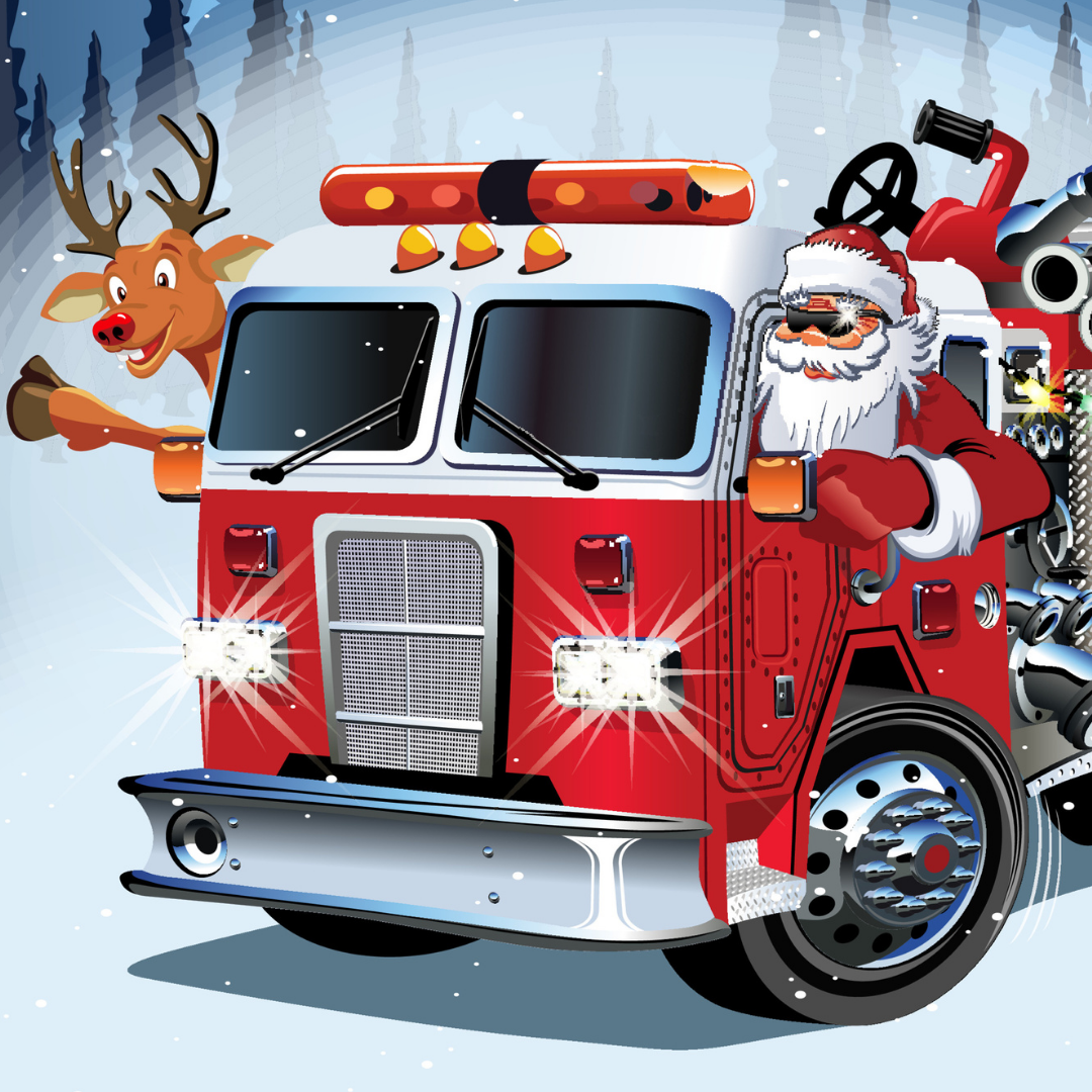 Santa on a Fire Truck with Rudolph